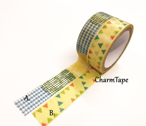 Triangles & Patchwork Washi Tape 15mm 2 Rolls set WT976 - CharmTape - 2