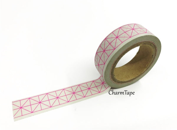 Neon Pink Geometric Squares Washi tape 15mm x 10m WT430 - CharmTape - 4