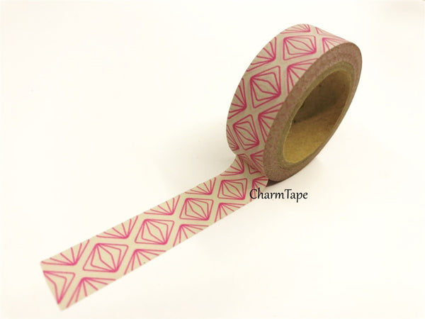 Neon Pink Geometric Squares Washi tape 15mm x 10m WT430 - CharmTape - 6