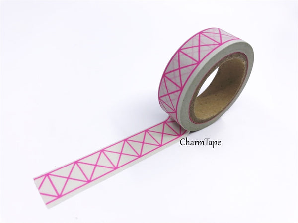 Neon Pink Geometric Squares Washi tape 15mm x 10m WT430 - CharmTape - 8