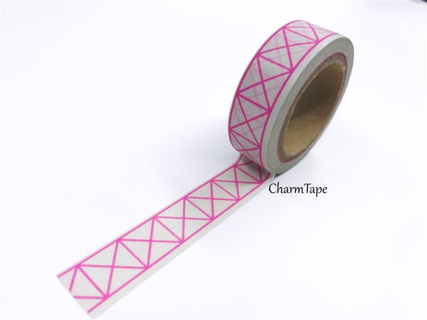 Neon Pink Geometric Squares Washi tape 15mm x 10m WT430 - CharmTape - 9