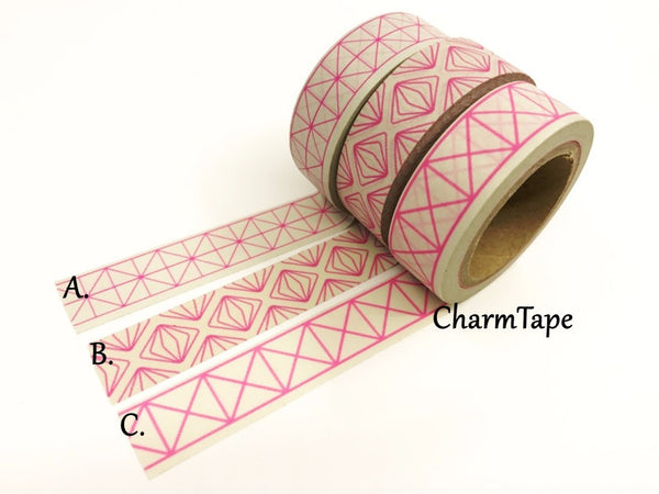 Neon Pink Geometric Squares Washi tape 15mm x 10m WT430 - CharmTape - 1