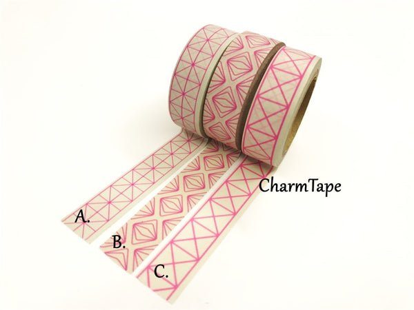 Neon Pink Geometric Squares Washi tape 15mm x 10m WT430 - CharmTape - 2