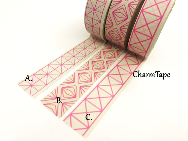 Neon Pink Geometric Squares Washi tape 15mm x 10m WT430 - CharmTape - 3