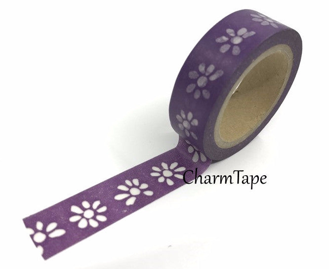 Washi tape - White Floral - 15mm Wide - 11 yards  WT426 - CharmTape - 1
