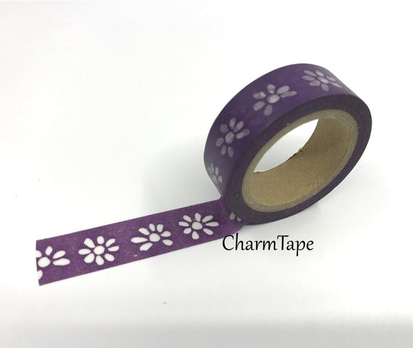 Washi tape - White Floral - 15mm Wide - 11 yards  WT426 - CharmTape - 2