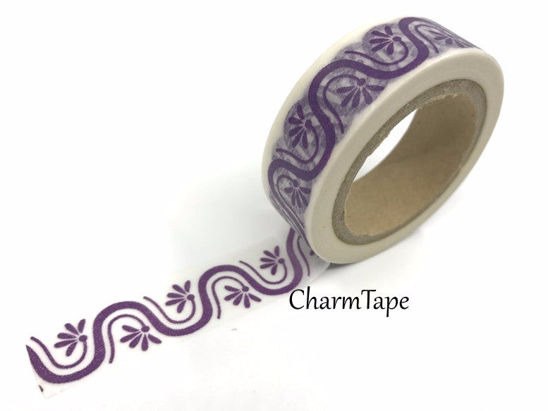 Purple Floral & Wave Washi tape 15mm x 10m WT417 - CharmTape - 1