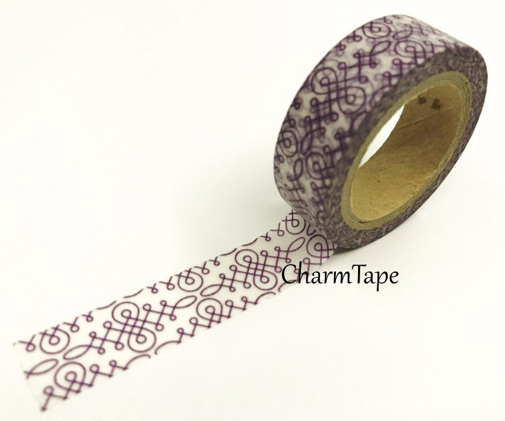 White & Purple motif Washi tape 15mm x 11 yards WT419 - CharmTape