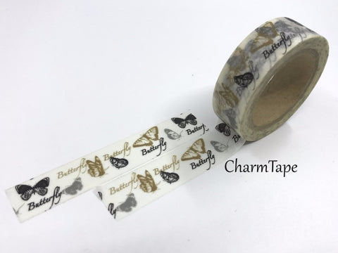 Black & Gold Moths Washi Tape 15mm x 11 yards WT213 - CharmTape