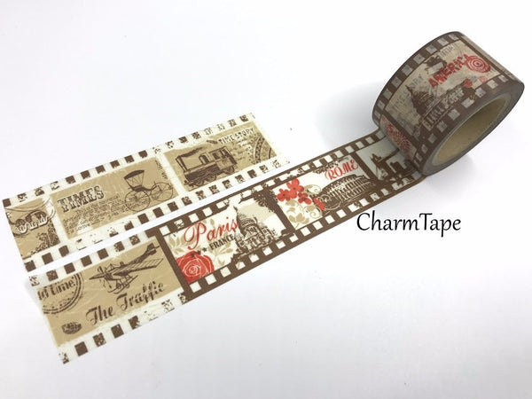 Vintage Traveler Big Washi Tape 30mm x 10m WT1013 - CharmTape - 1