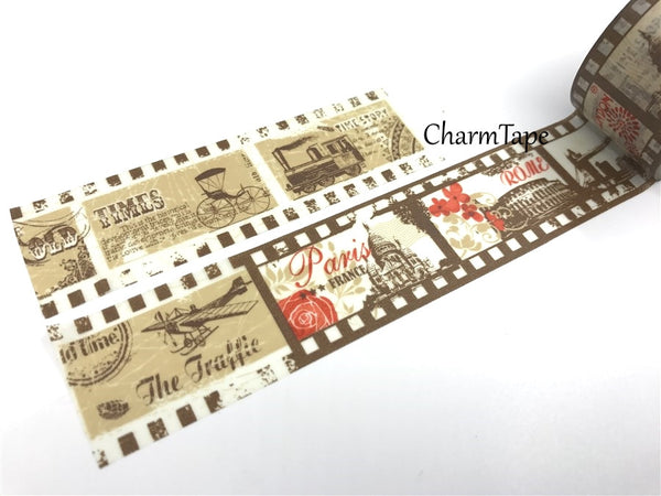 Vintage Traveler Big Washi Tape 30mm x 10m WT1013 - CharmTape - 2