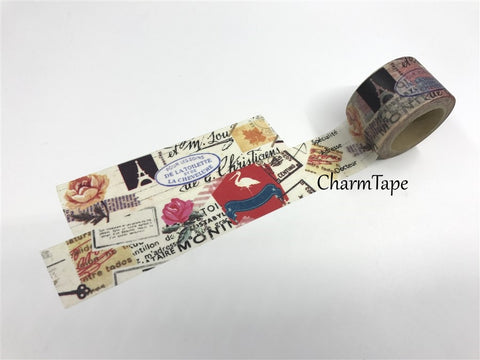 Big Washi Tape - Mixed media collage 30mm x10m WT498 - CharmTape - 1