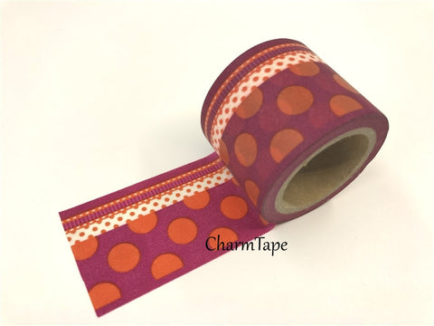 Big Washi Tape - Orange Dots and lace border 38mm x 10 meters WT987 - CharmTape - 1