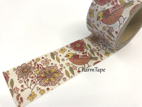 Big Washi Tape - Flowers & Bird 30mm x 10m WT620 - CharmTape - 1
