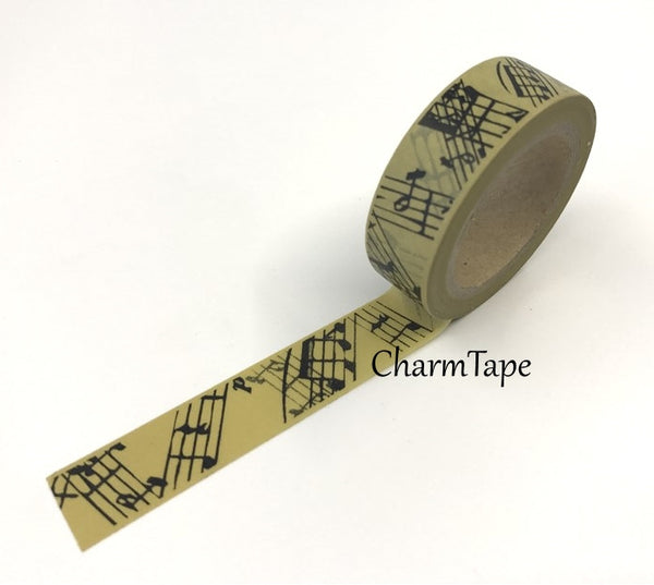 Musical notes on brown Washi Tape 15mm x 10m WT238 - CharmTape - 2