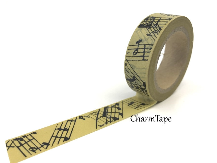 Musical notes on brown Washi Tape 15mm x 10m WT238 - CharmTape - 1