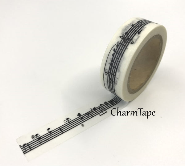 Piano Musical Notes Washi Tape 15mm x 10m WT83 - CharmTape - 3