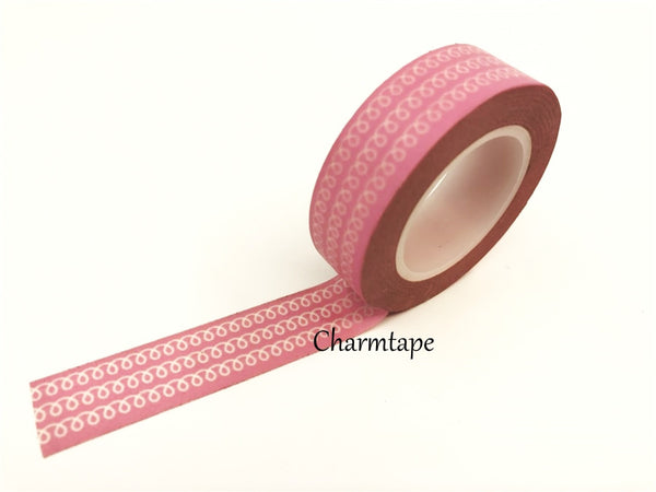 White Swirls Washi Tape 15mm x 10m WT77 - CharmTape - 7