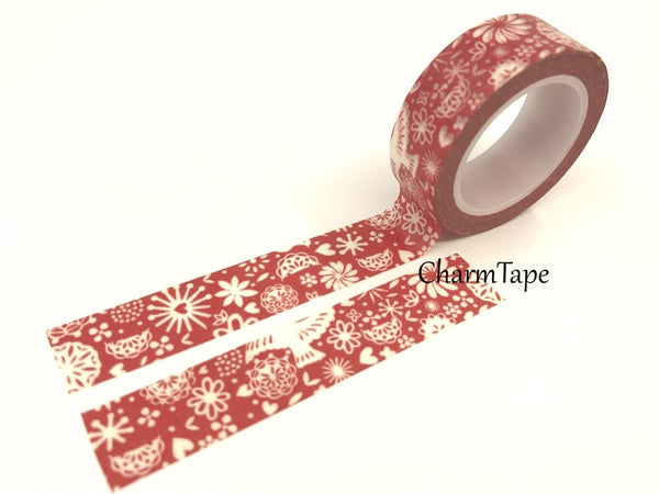 White Dove and floral Washi Tape 15mm x 10 meters WT29 - CharmTape - 1