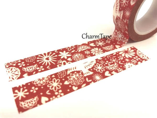 White Dove and floral Washi Tape 15mm x 10 meters WT29 - CharmTape - 2