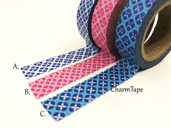 Floral Motif Washi Tape 15mm x 10 meters WT114 - CharmTape - 1