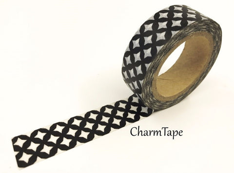 Black & White Geometric circle Washi Tape 15mm WT988 - CharmTape