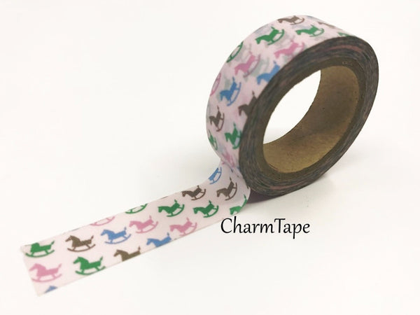 It's a girl Washi Tape - Rocking Horse 15mm x 10 meters WT611 - CharmTape - 1