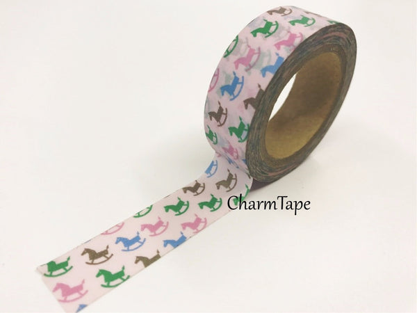It's a girl Washi Tape - Rocking Horse 15mm x 10 meters WT611 - CharmTape - 2