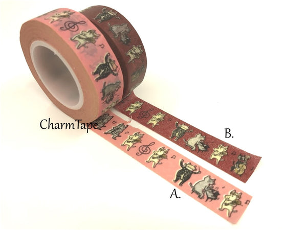 Cat Band Washi Masking Tape 15mm x 10m WT81 - CharmTape - 2
