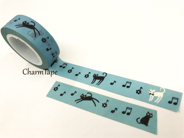 Cat & Music Washi Masking Tape 15mm x 10 meters WT78 - CharmTape - 4