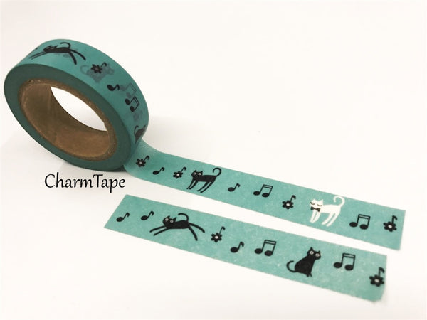 Cat & Music Washi Masking Tape 15mm x 10 meters WT78 - CharmTape - 5