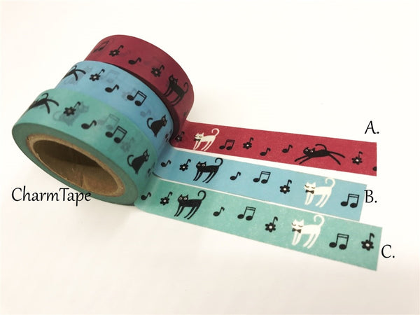 Cat & Music Washi Masking Tape 15mm x 10 meters WT78 - CharmTape - 2