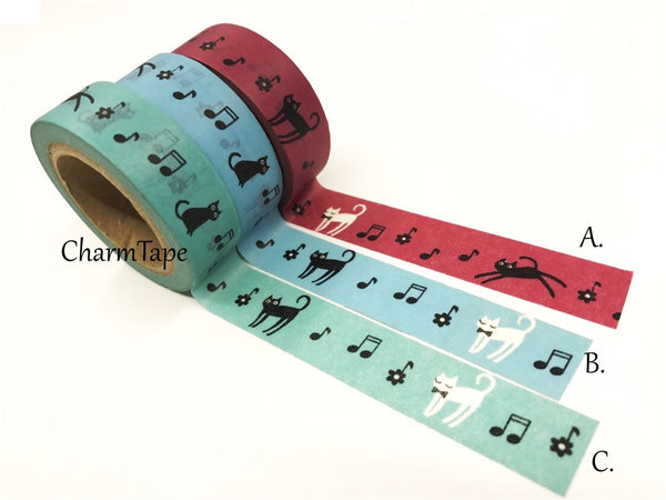 Cat & Music Washi Masking Tape 15mm x 10 meters WT78 - CharmTape - 1