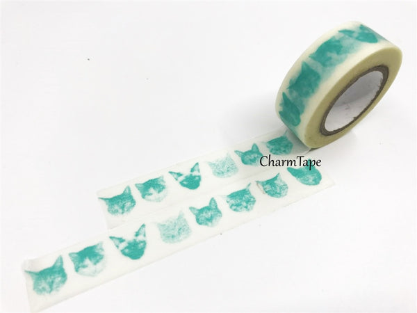 Washi Tape - Aqua Cat face silhouette 15mm x 8 meters WT574 - CharmTape - 1