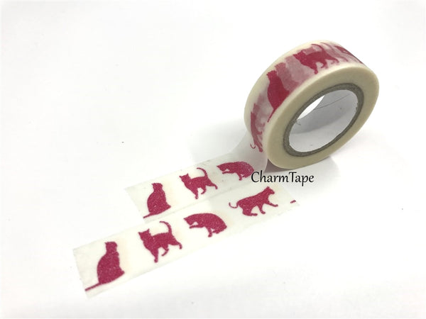 Washi Tape - Red Cat silhouette 15mm x 8 meters WT575 - CharmTape - 2