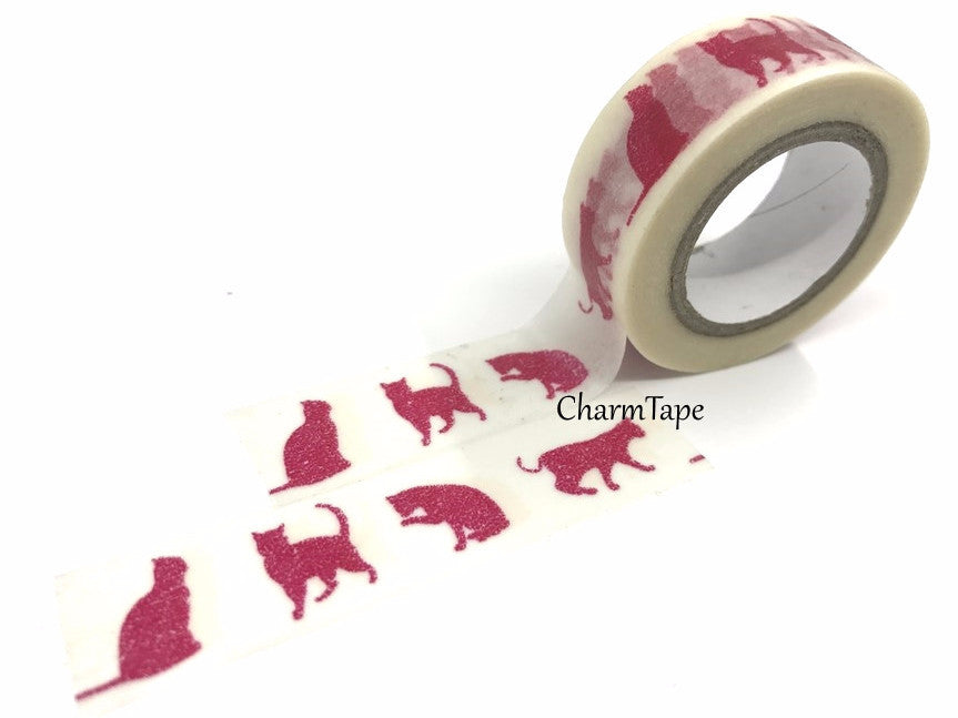 Washi Tape - Red Cat silhouette 15mm x 8 meters WT575 - CharmTape - 1