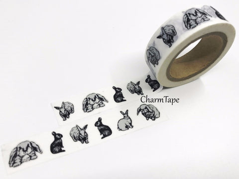 Black & White Rabbit Washi tape 15mm x 10m WT518 - CharmTape - 1