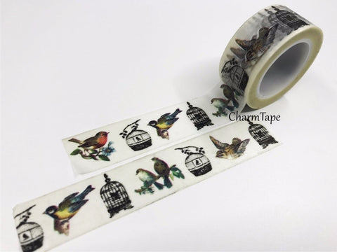 Bird & cage Washi Tape Big Roll (20mm x 10m) WT352 - CharmTape - 1
