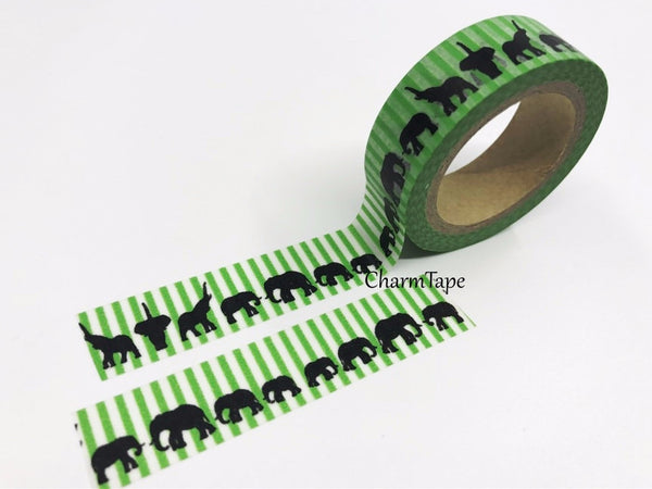Elephant on Green stripes Washi Tape 15mm x 10m WT147 - CharmTape - 2