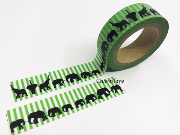 Elephant on Green stripes Washi Tape 15mm x 10m WT147 - CharmTape - 3