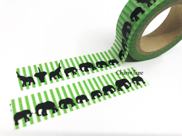 Elephant on Green stripes Washi Tape 15mm x 10m WT147 - CharmTape - 1