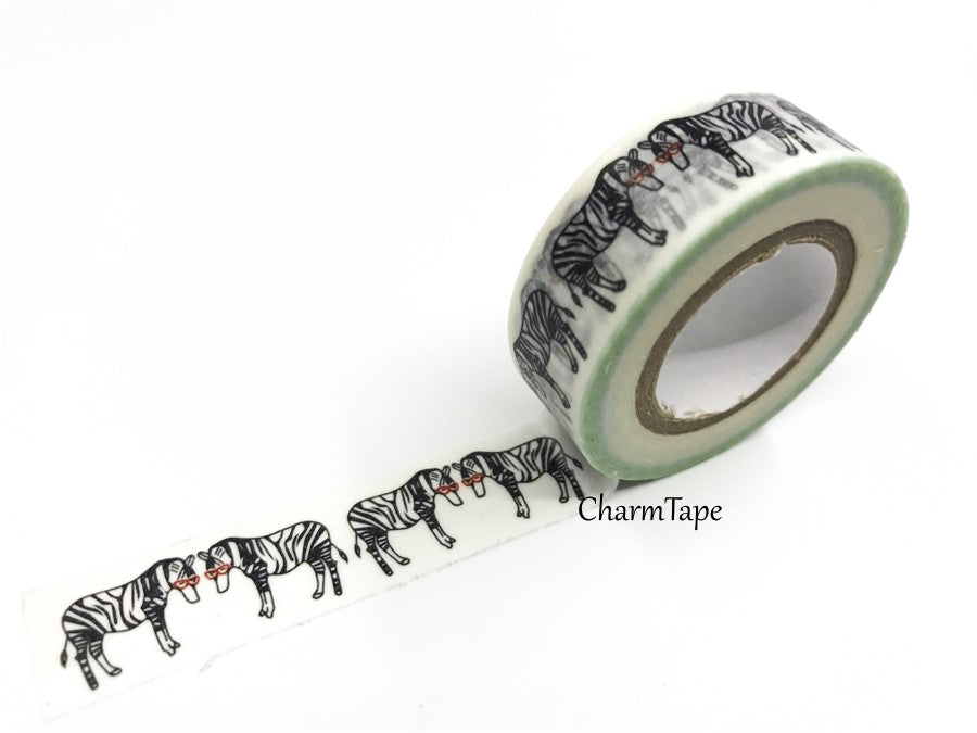 Cool Zebra with glasses Washi Tape 15mm WT538 - CharmTape - 1