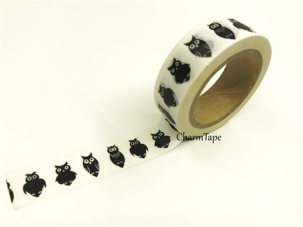Black Owls Washi Tape 15mm WT388 - CharmTape - 2
