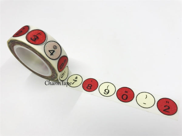 Number Keys Washi Tape 15mm x 11yards WT193 - CharmTape - 1