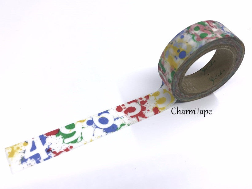 Number Washi Tape with Paint Splatter 15mm x 11 yards WT308 - CharmTape - 1