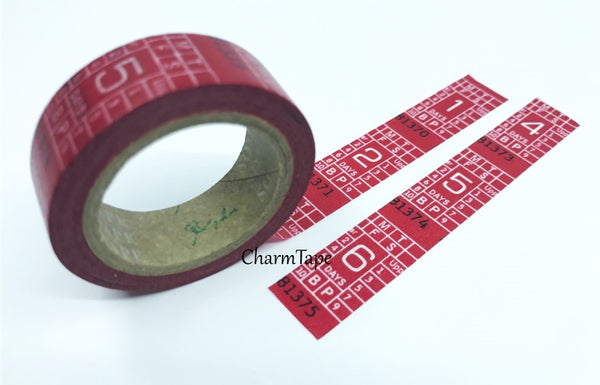 Translucent Numbers on Red Washi Masking Tape WT138 - CharmTape - 2