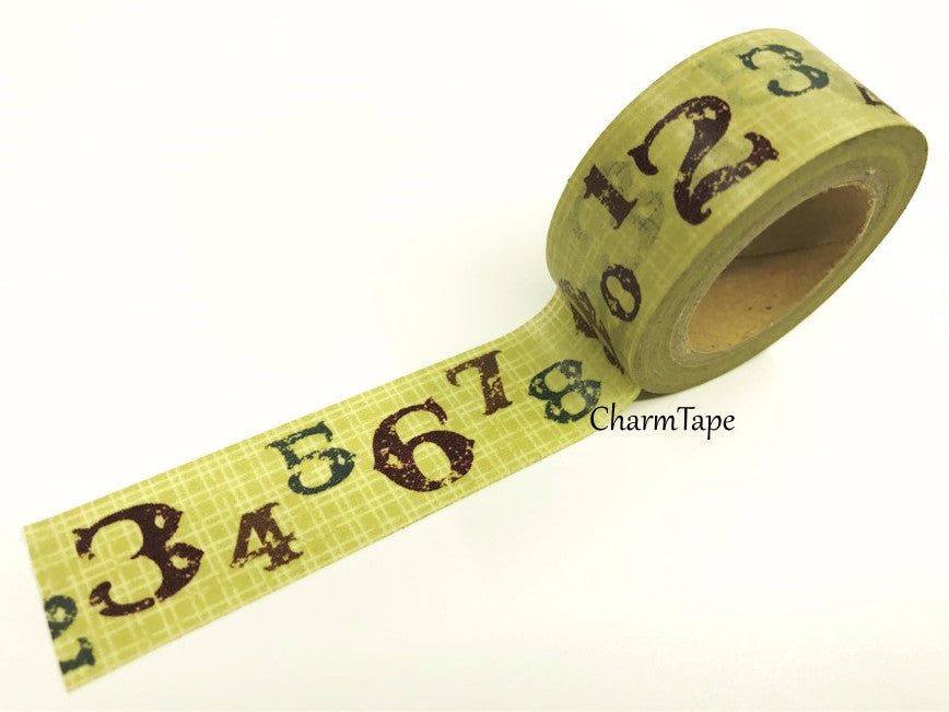 Digit Numbers on Khaki Plaid Washi Tape 20mm x 5m WT208 - CharmTape - 1