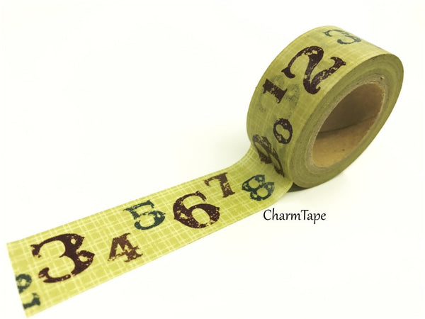 Digit Numbers on Khaki Plaid Washi Tape 20mm x 5m WT208 - CharmTape - 3