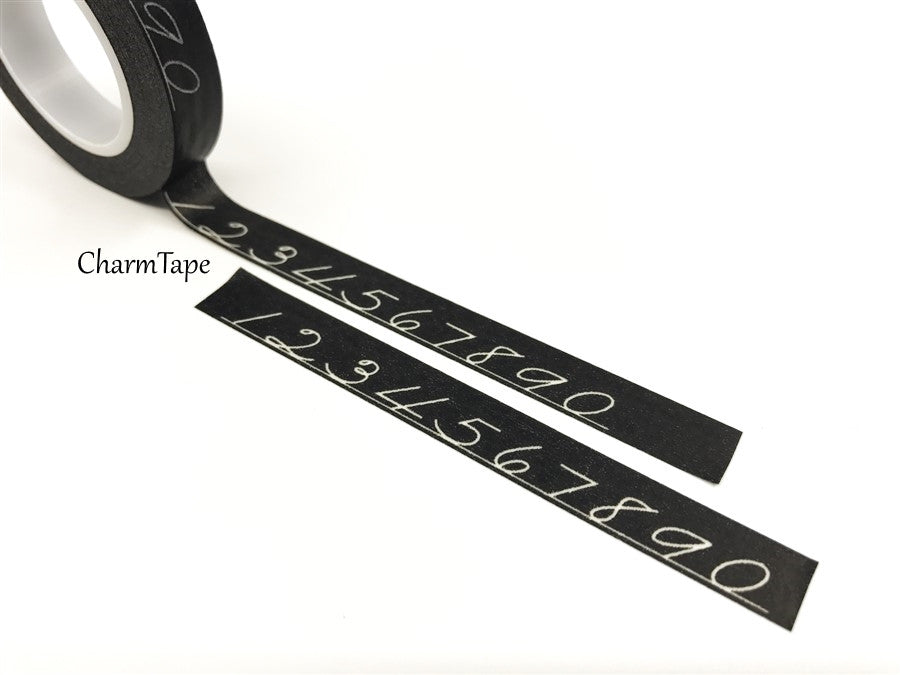 Chalk numbers on Black Washi Tape 10mm x 10meters WT306 - CharmTape - 1