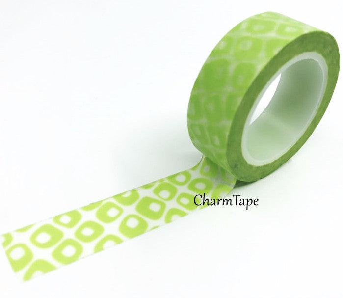 Green geometric Washi Tape 15mm WT406 - CharmTape - 1